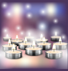 lighted holiday candles on blurred background vector image