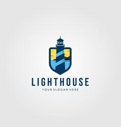 Lighthouse shield logo design template vector