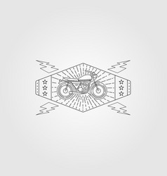 line art motorcycle minimalist logo vintage vector image
