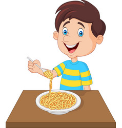 Little boy eating spaghetti vector