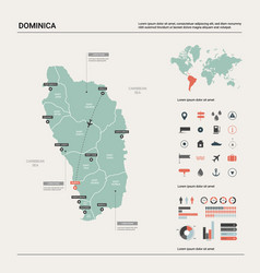 Map dominica high detailed country vector