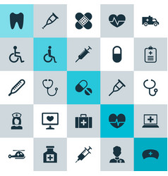 Medicine icons set collection of database stand vector
