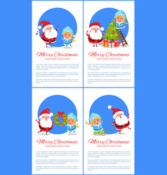 Merry christmas happy new year santa snow maiden vector