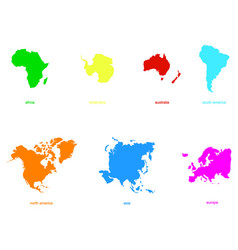 Monochrome icons with world continents vector