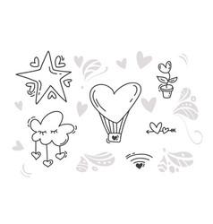 Monoline valentines day hand drawn elements vector