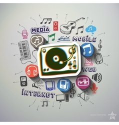 Music and entertainment collage with icons vector image