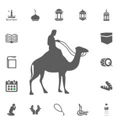 Muslim on camel icon ramadan kareem eid mubarak vector