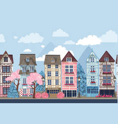old town with trees seamless border vector image