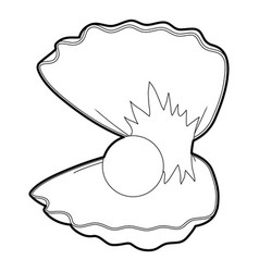 Pearl shell icon outline vector