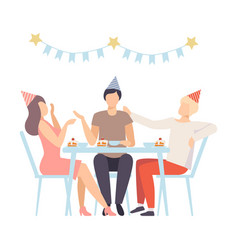 people celebrating birthday eating desserts and vector image