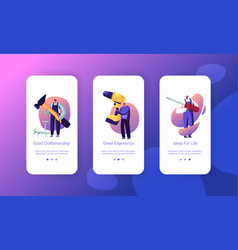 People with diy tools mobile app page onboard vector