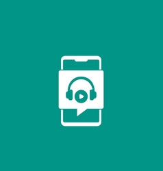 podcast play audio in smartphone icon vector image
