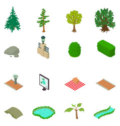 Reserve icons set isometric style vector
