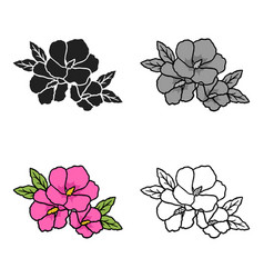 rose of sharon icon in cartoon style isolated on vector image