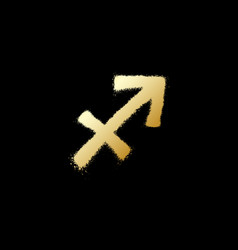 Sagittarius zodiac sign gold paint sprayed icon vector