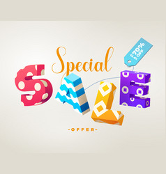 sale 3d sign colorful on white vector image