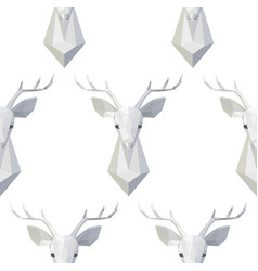 seamless pattern with polygonal deer head vector image