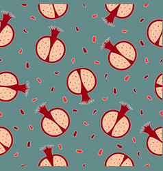 seamless pattern with pomegranates vector image