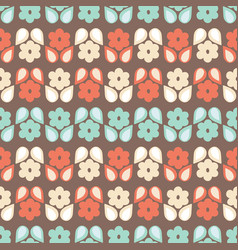 Seamless repeat pattern stylized retro flowers vector