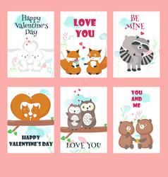 Set of cards with cute animals couples vector