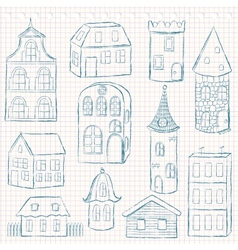 Set of doodle houses on checkered page vector