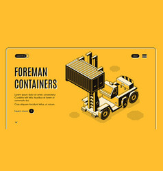 Shipping container delivery service webpage vector
