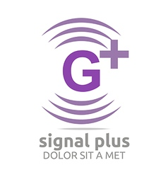 Signal letter g plus purple alphabet wireless vector