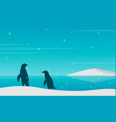 Silhouette penguin on beach with snow vector
