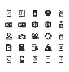 Smartphone parameters icon set screen dimensions vector