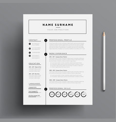 stylish cv resume template - black and white vector image