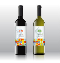 stylish red and white wine labels set vector image