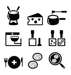 Swiss food and dishes icons - fondue raclette vector