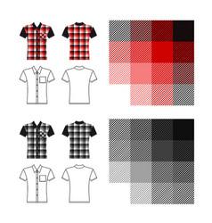 Tartan shirt man template vector