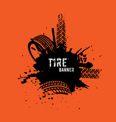 tire tread marks banner vector image