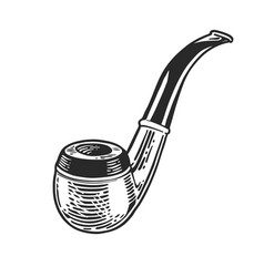 Tobacco pipe engraving vector