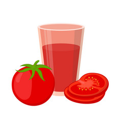 tomato juice red tomatoes flat style vector image