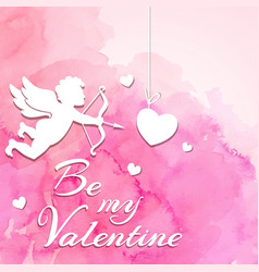 Valentine background with cupid vector