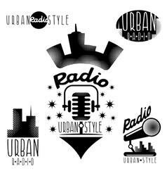 Vintage labels of urban radio with microphone vector