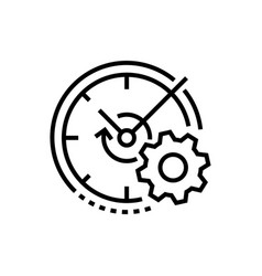 watch and gear - line design single isolated icon vector image