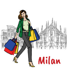 Woman and milan cathedral vector