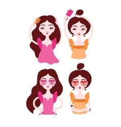Women doing their hair brushing hair Girls wearing vector