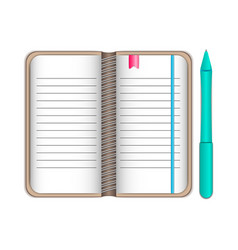 Writing pad notepad pad with bookmarks in brown vector