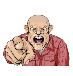 angry man with shaved head shouting and pointing vector image vector image