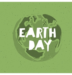 Happy Earth Day Poster Symbolic Earth on the green vector image vector image