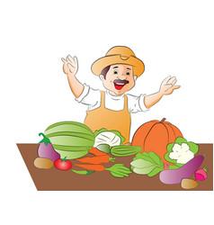 happy vegetable seller vector image