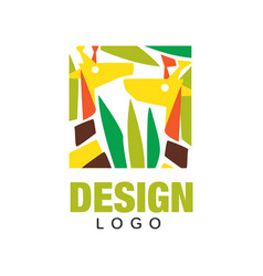 original african animals logo design template vector image