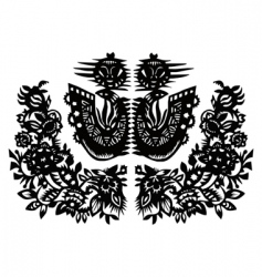 two black birds and flowers vector image vector image