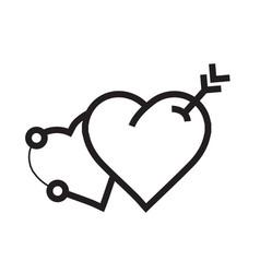 Arrow on two heart icon vector