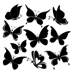 Butterflies black silhouettes vector image vector image