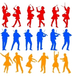 Color silhouettes of beautiful mans and womans vector image
